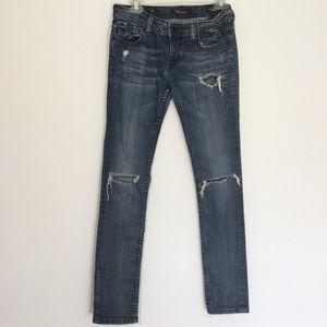 Vigoss Skinny Jeans Distressed Medium Wash Blue 27